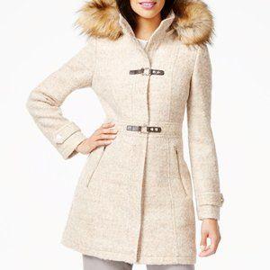 Ivanka Trump Faux Fur Hood Toggle Coat Boucle Wool